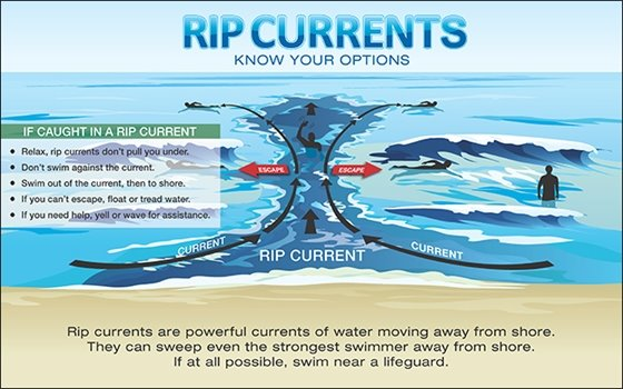 Know your options when it comes to rip currents. Relax, don't swim against it, swim sideways to the shore, then out of the current. IF you can't escape, float or tread water. Yell or wave for assistance.