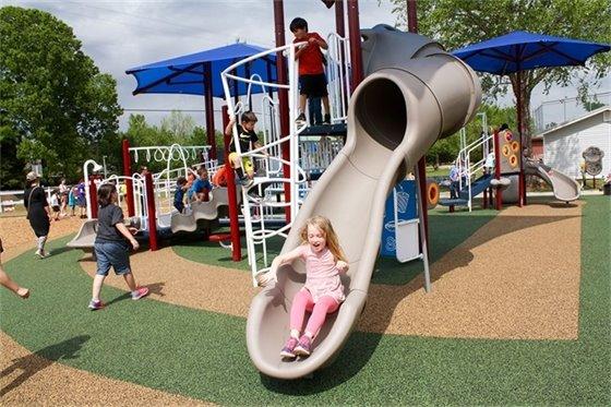 Children playing on Chumuckla Park playground