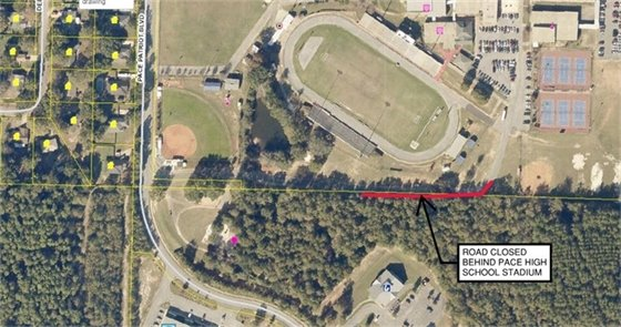 Map showing road closure for Pace Patriot Blvd. behind the Pace High School Stadium