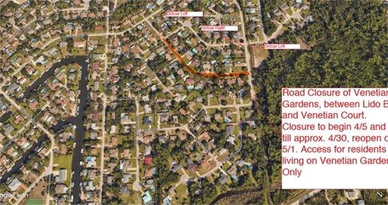 Venetian Gardens road closure map