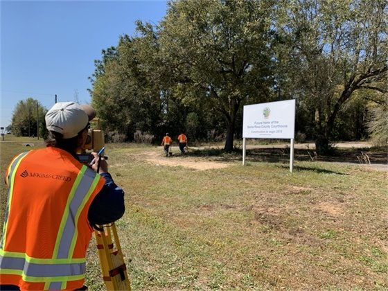 Surveyors working at new courthouse location on Avalon Boulevard