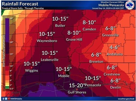 Hurricane Sally rainfall graphic