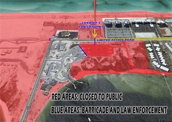 Map of beach shutdown areas