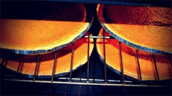 Sweet potato pies in the oven