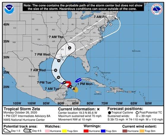 1 p.m. Tropical Strom Zeta forecast track from the National Hurricane Center