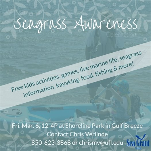 Seagrass Awareness Celebration. Free kids activities, games, live marine life, seagrass information, kayaking, food, fishing and more! Fri. March 6, 12-4 p.m. at Shoreline Park in Gulf Breeze. Contact Chris Verlinde, 850-623-3868 or chrismv@ufl.edu.