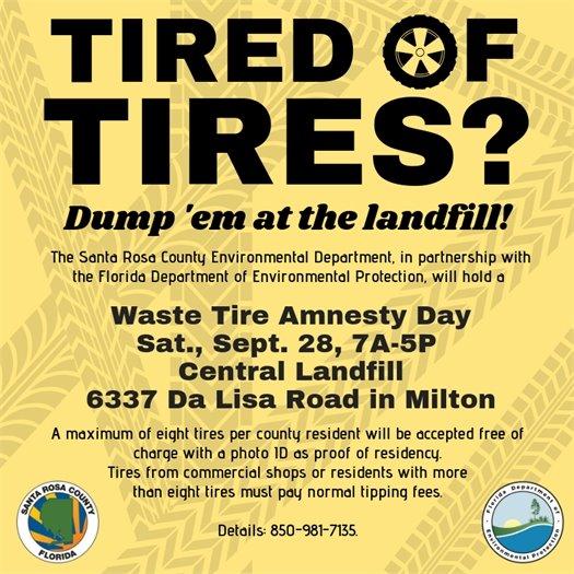 Waste Tire Amnesty Day - Sept. 28