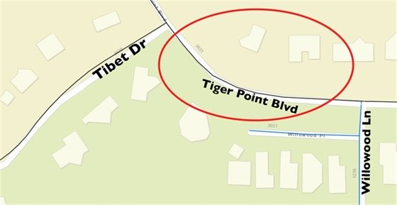 Map showing Tiger Point Blvd. closure between Tibet Dr. and Willowood Ln.