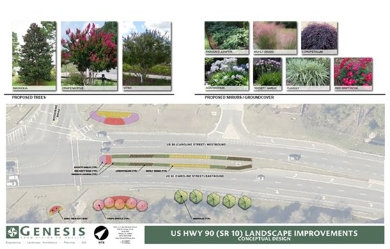 Highway 90 landscape beautification in Pace