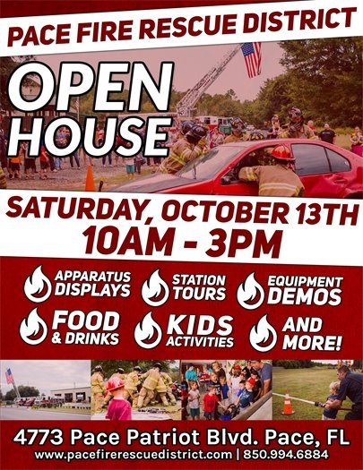 Pace Fire Rescue Open House to be held Sat. Oct. 13 from 10 a.m. to 3 p.m.