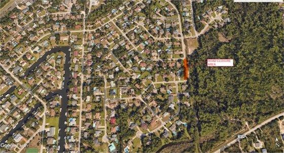 Map showing Lido Boulevard Road Closure