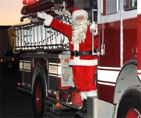 Santa on a Pace Fire Rescue truck