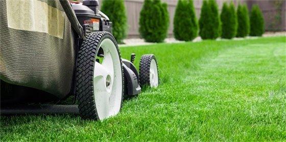 Lawn mower mowing grass.