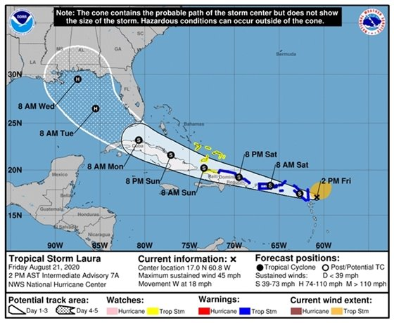 Latest forecast track for Tropical Storm Laura