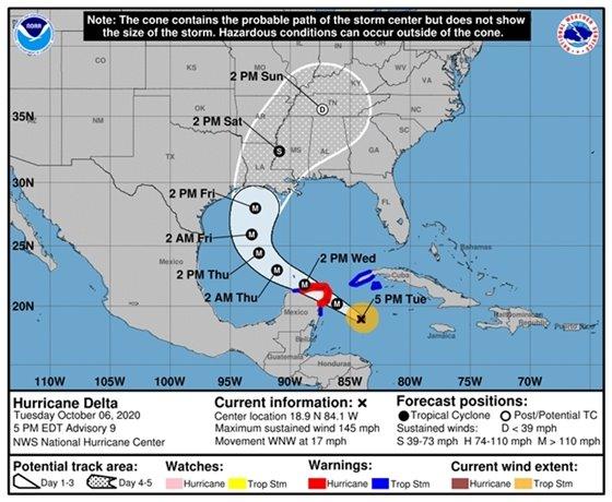 Hurricane Delta 5 p.m. update graphic from the National Hurricane Center