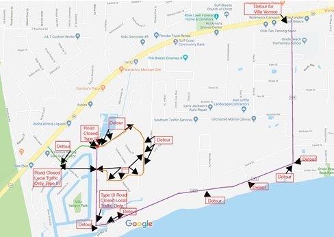 Detours for Coronado Drive and Venetian Way Road Closure
