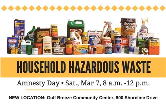 Household Hazardous Waste Amnesty Day, Sat., Mar. 7, 8 a.m. to 12 p.m.