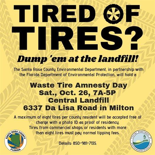 Waste Tire Amnesty Day - Oct. 26
