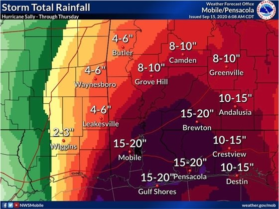 Hurricane Sally rainfall totals