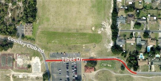 Map showing Tibet Drive closure
