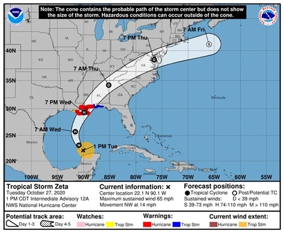 Zeta forecast track from the National Weather Service