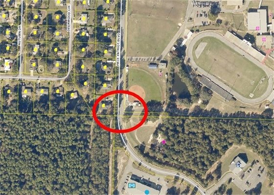 Map showing where intersection of Pace Patriot Blvd. and Stadium Drive where lane closure will be.