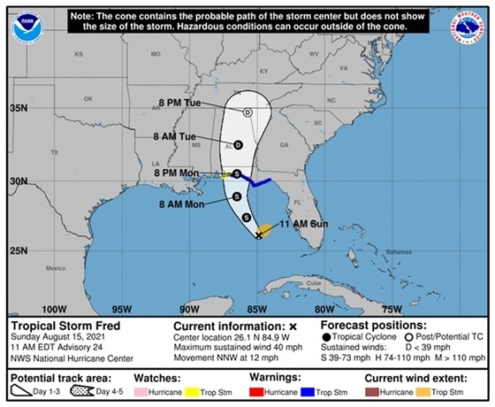 Tropical Storm Fred 11 a.m. forecast track