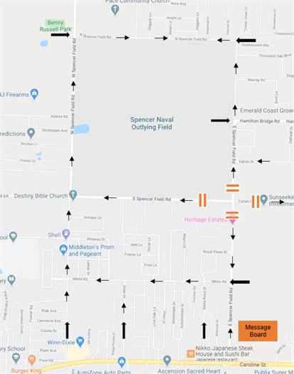 Detour map for the East/South Spencer Field and Carlyn Drive intersection improvements