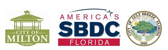 City of Milton, Small Business Development Center and City of Gulf Breeze logos