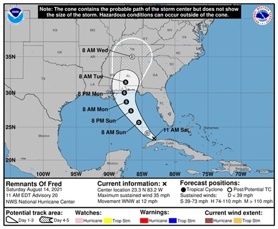11 a.m. forecast track for Remnants of Fred tropical system