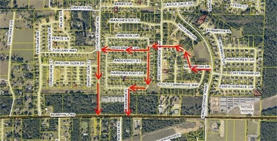 Detour Map for King George Parkway