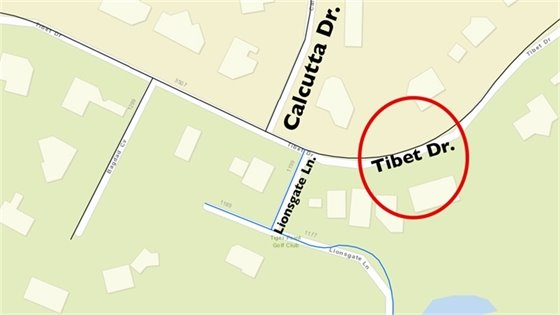 Map showing roadway to be repaired - Tibet Drive