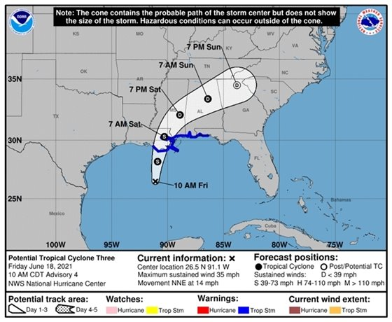 10 a.m. forecast track for potential tropical cyclone three