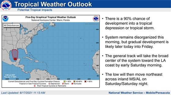 Tropical update from the National Weather Service Mobile/Pensacola. This graphic reiterates the same information contained in the news release above.