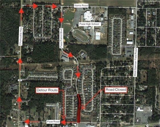 Pace Patriot/Tiburon drainage project map showing road detours