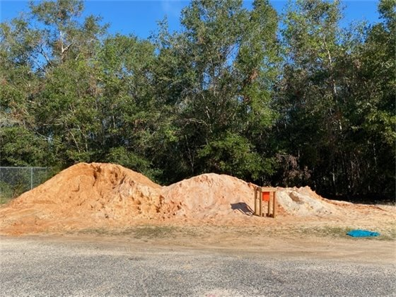 Pile of sand in front of trees