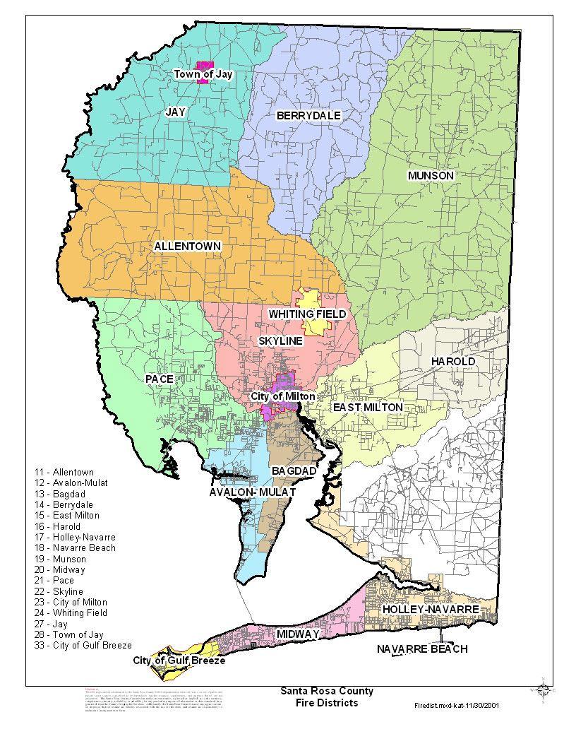 Pace Florida Map.Fire Departments Santa Rosa County Fl