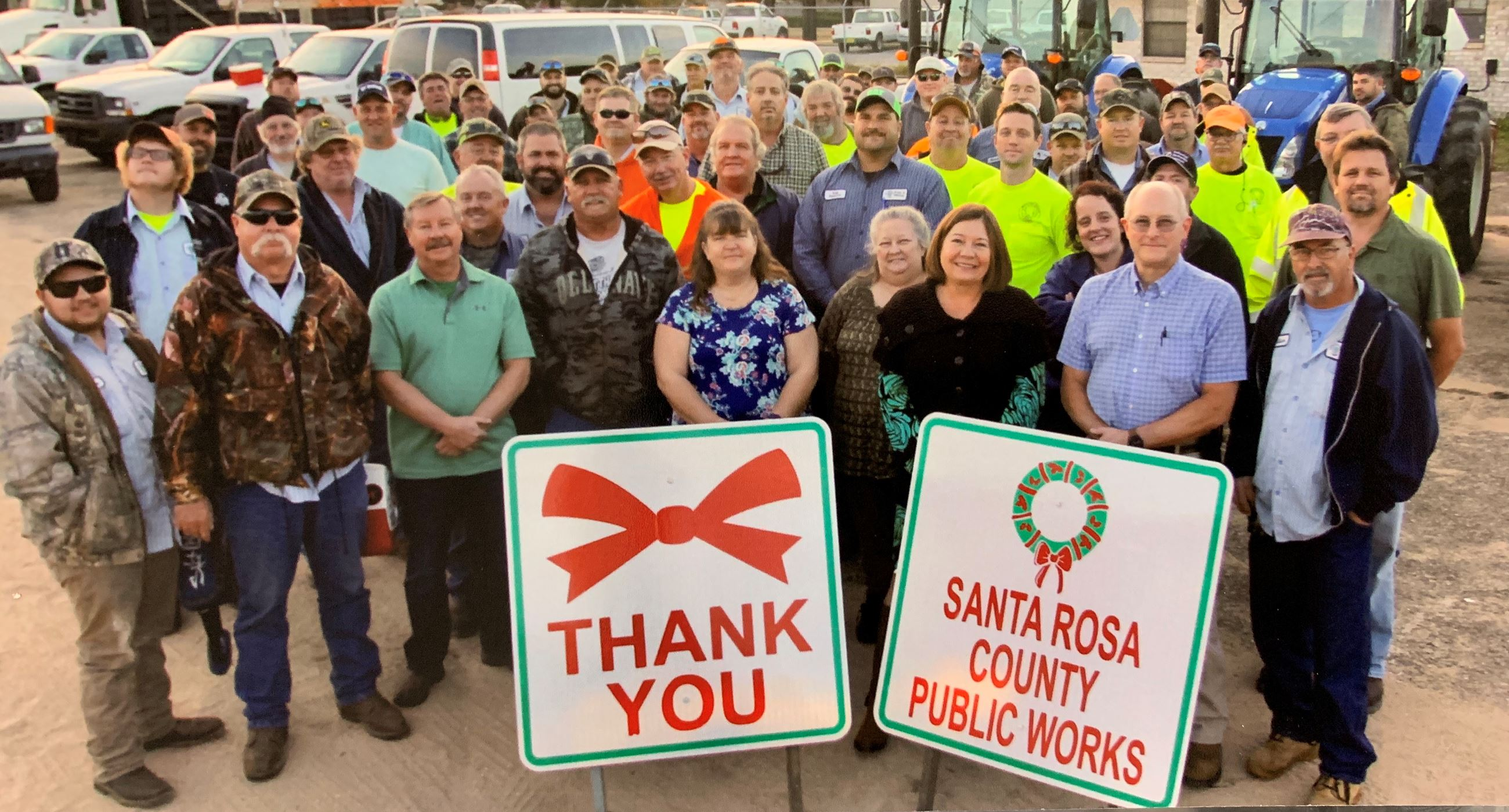 Public Works Staff Photo 2019 - Photo of 100+ smiling employees of Santa Rosa County Public Works ho