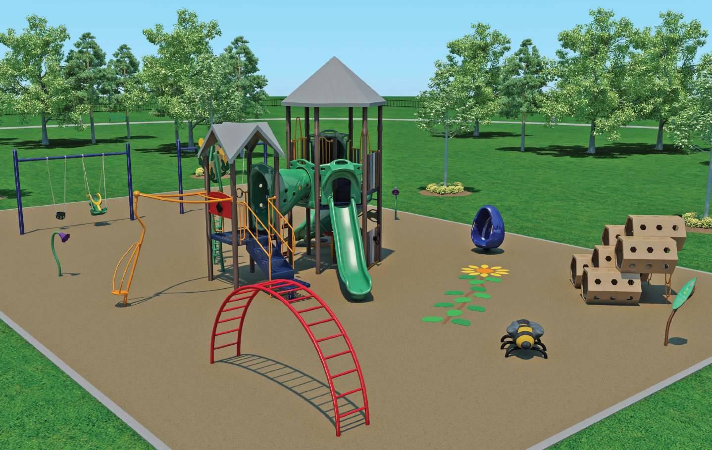 Artist rendering of the new Fidelis Park playground