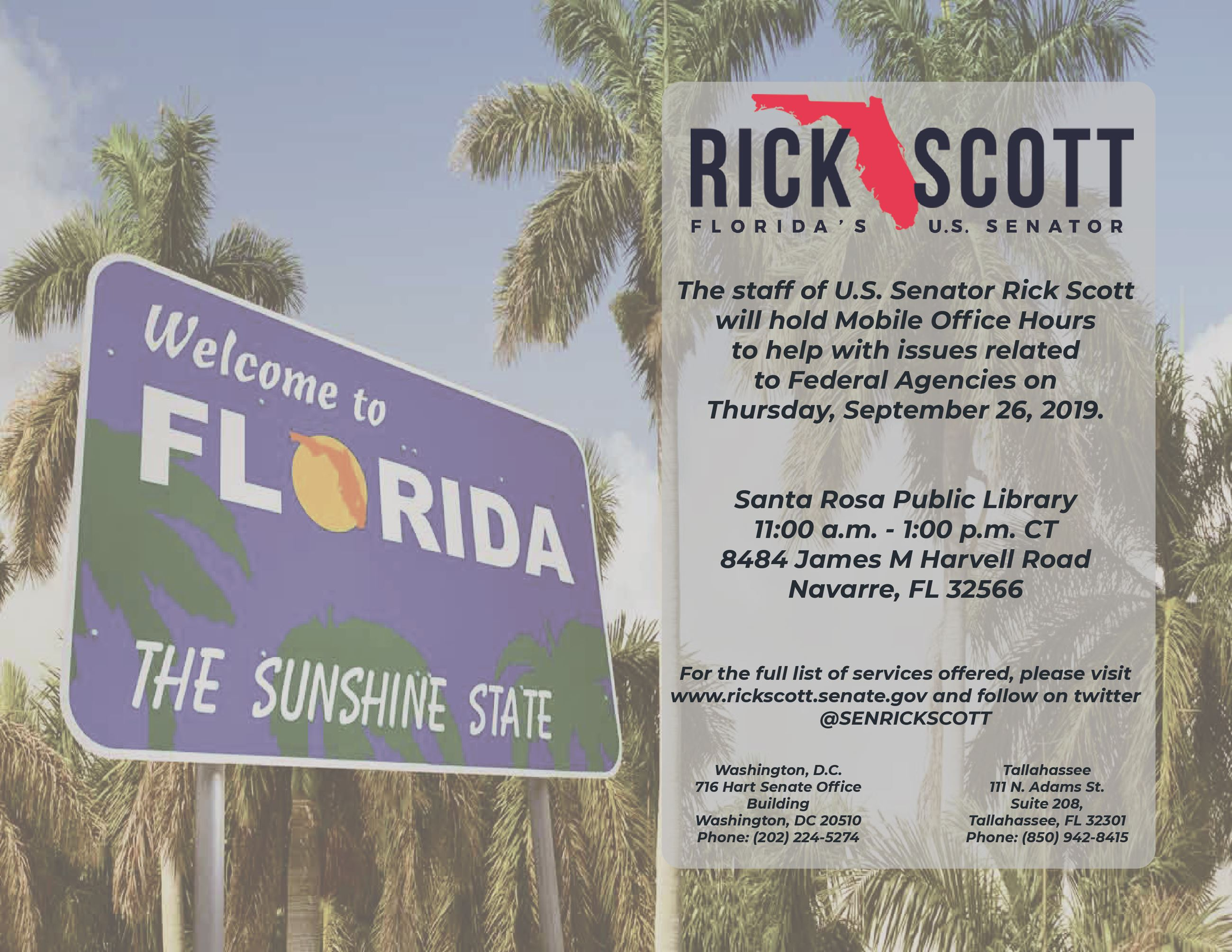 Senator Rick Scott to hold mobile office hours in Navarre, Sept. 26