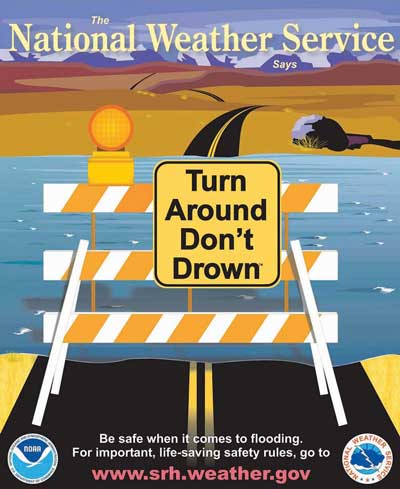 National Weather Service 'Turn Around Don't Drown' flyer