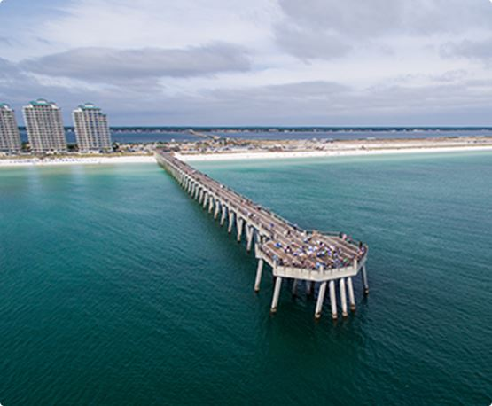Aerial view of pier at Navarre Fishing Rodeo