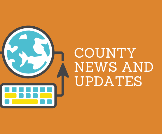 County news & updates with illlustration of earth connected to a keyboard